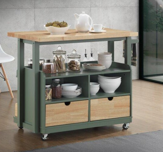 Aqua Ocean Green Kitchen or Bar Cart,bar cart,Adley & Company Inc.