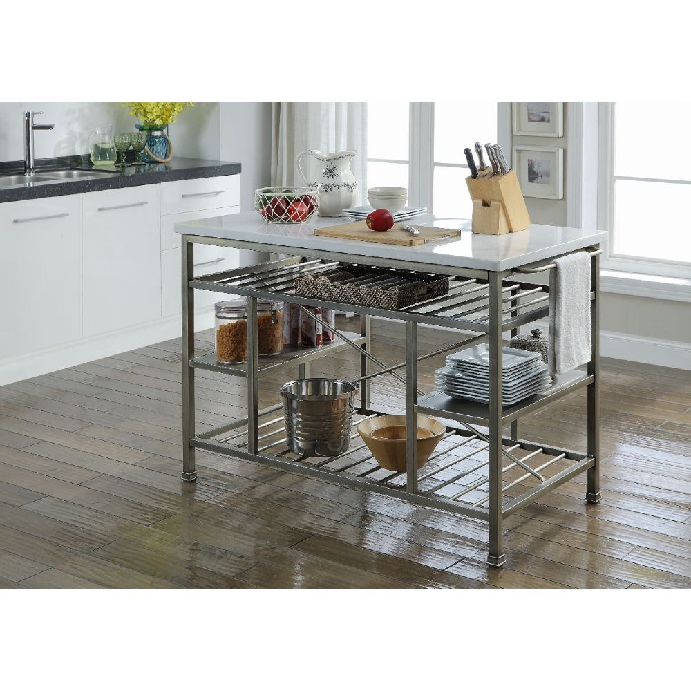 Marble & Antique Pewter Kitchen Cart Island