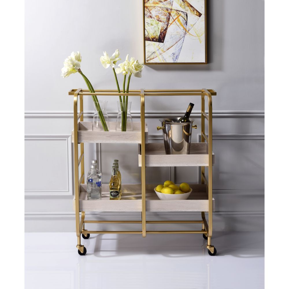 Gold and White-Washed Bar Cart