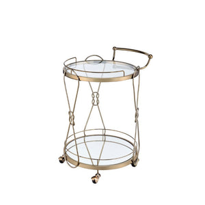 Glass and Metal Round Bar Cart
