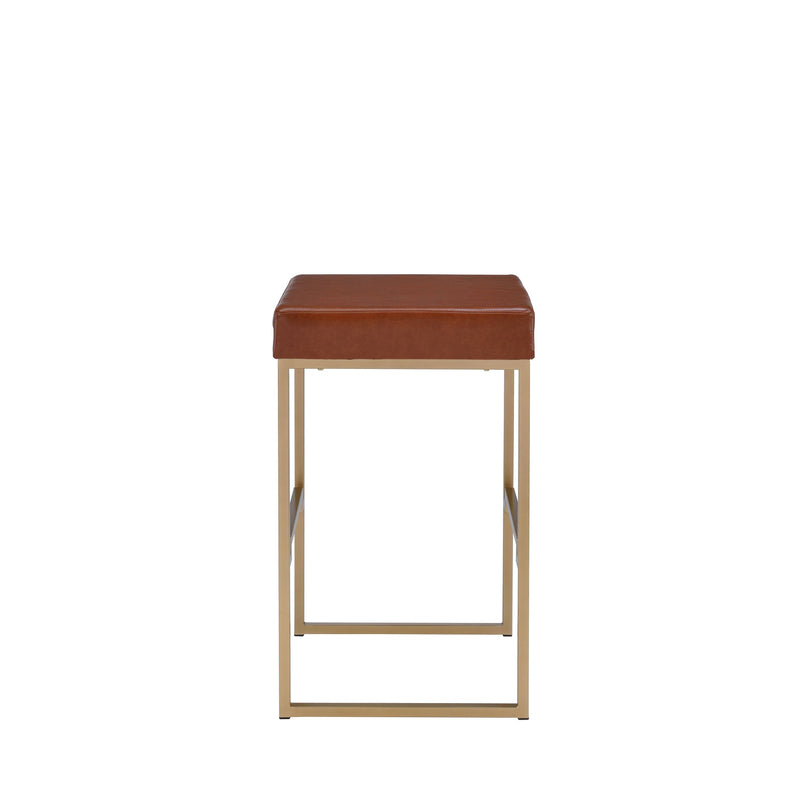 Gold & Brown Leather Bar Stools
