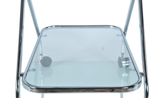 Chrome and Glass Bar Cart Trolley,tray table,Adley & Company Inc.