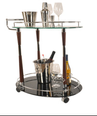 Chrome and Wood Bar Cart Trolley,bar cart,Adley & Company Inc.