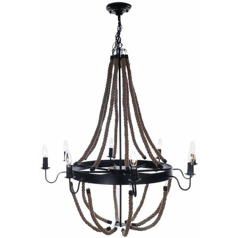 Rustic Iron Metal and Rope Chandelier