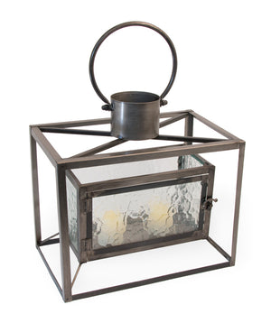 Metal and Glass Boston Horizontal Candle Lantern