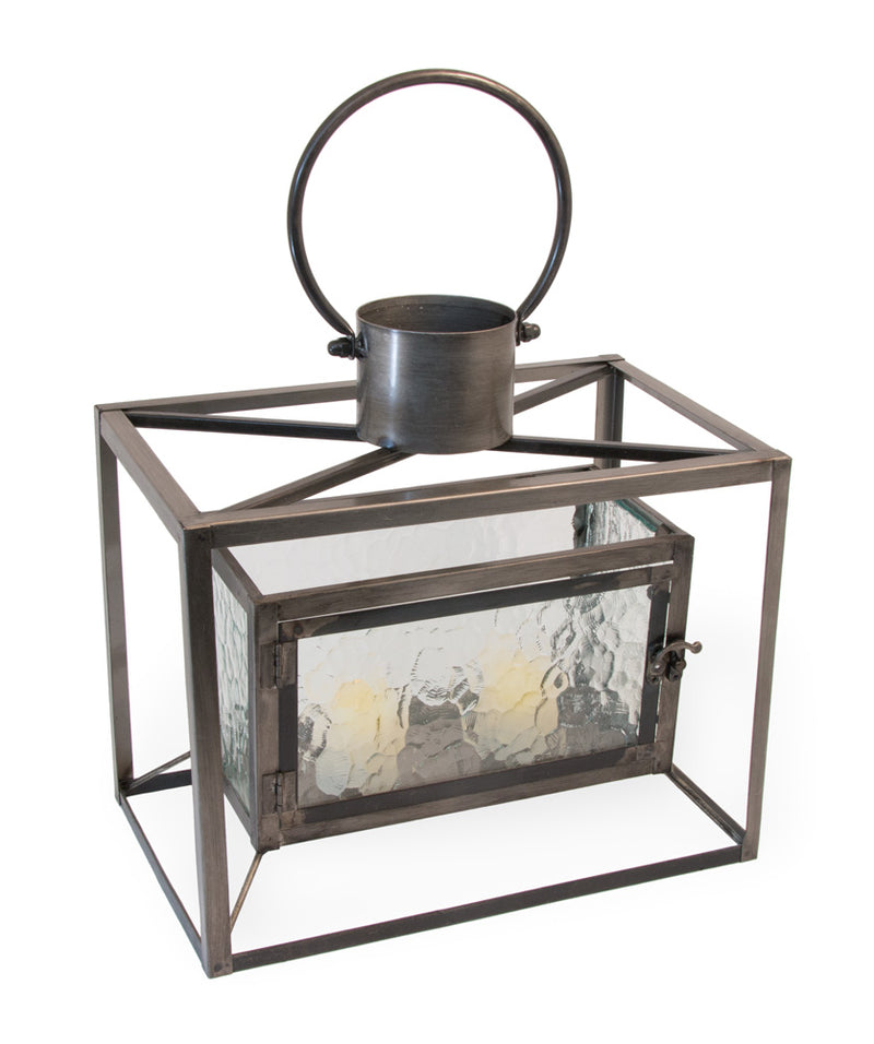 Metal and Glass Boston Horizontal Candle Lantern,candle lantern,Adley & Company Inc.