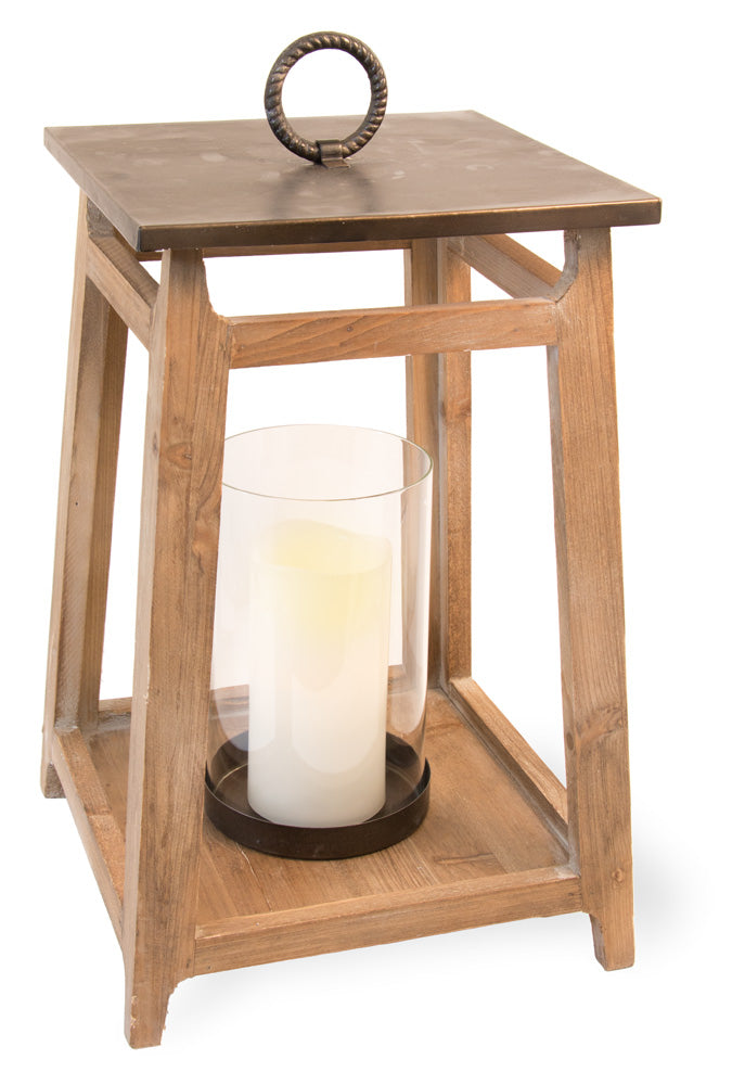 Large Wooden Hurricane Candle Lantern,candle lantern,Adley & Company Inc.