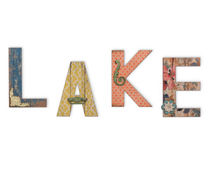 Oversized Wall Letters, LAKE, Wall Decor Lettering