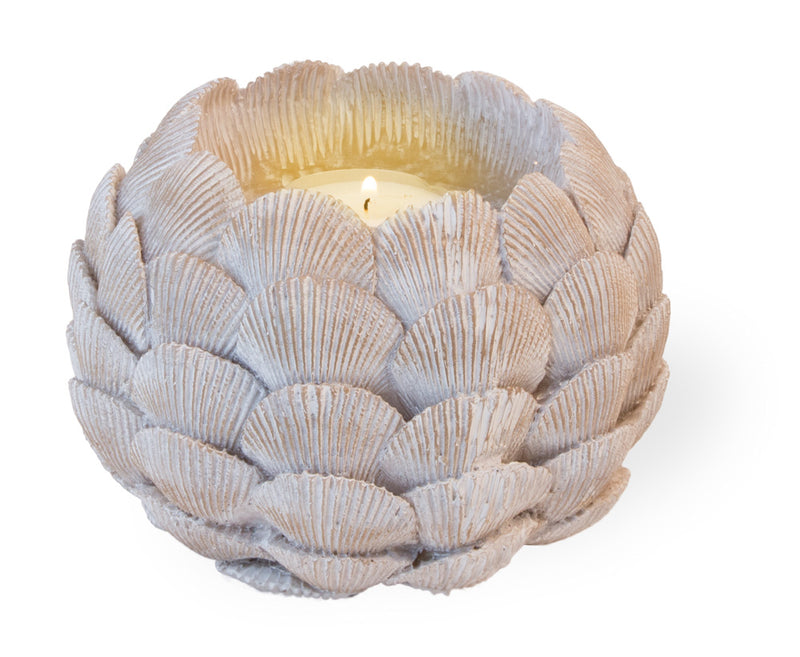 Golden Sun Kissed Sea Shell Tea Lights, Set of 4,tea light,Adley & Company Inc.