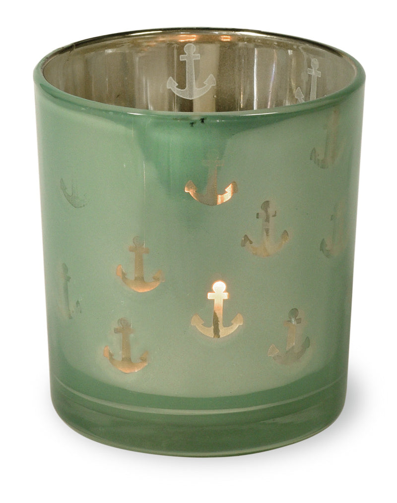 Frosted Green Anchor Tea Light Holders, Set of 12