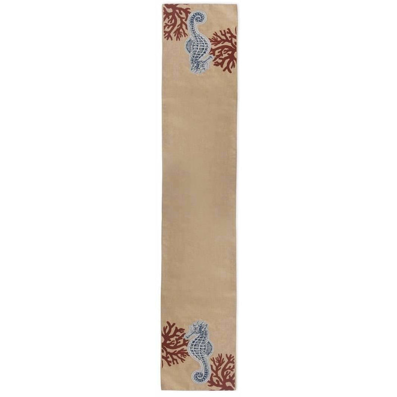 Coastal Sea Horse Table Runner,table runner,Adley & Company Inc.