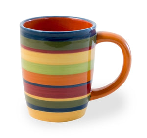 Colorful Fiesta Striped Mugs, Set of 6,mug,Adley & Company Inc.
