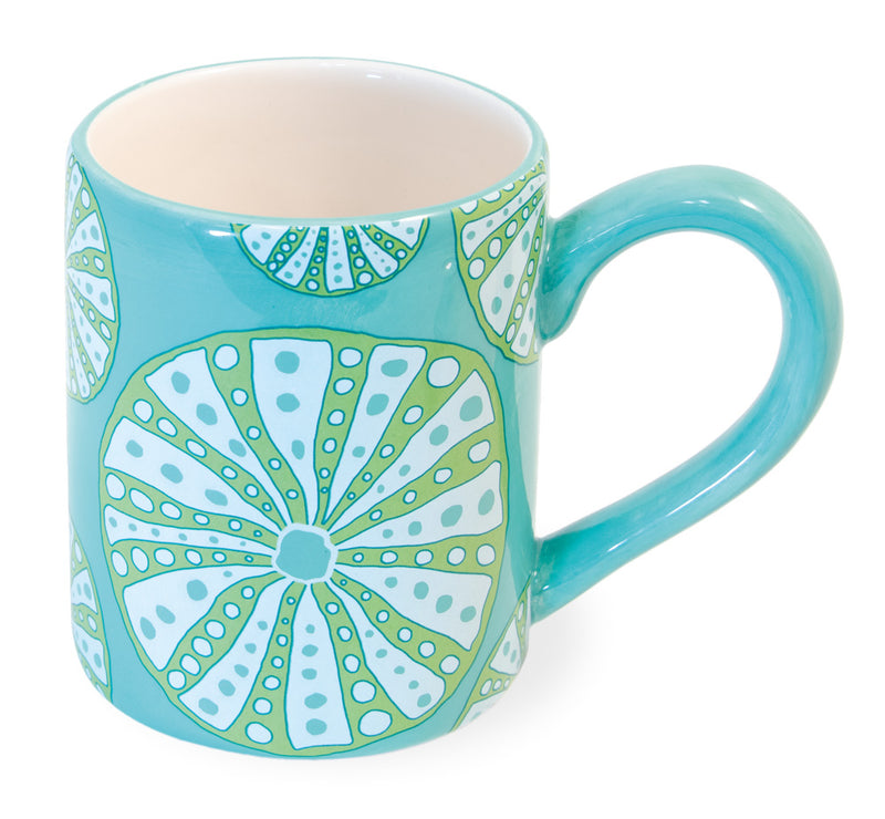 Turquoise Ceramic Mugs with Sea Urchins, Set of 6