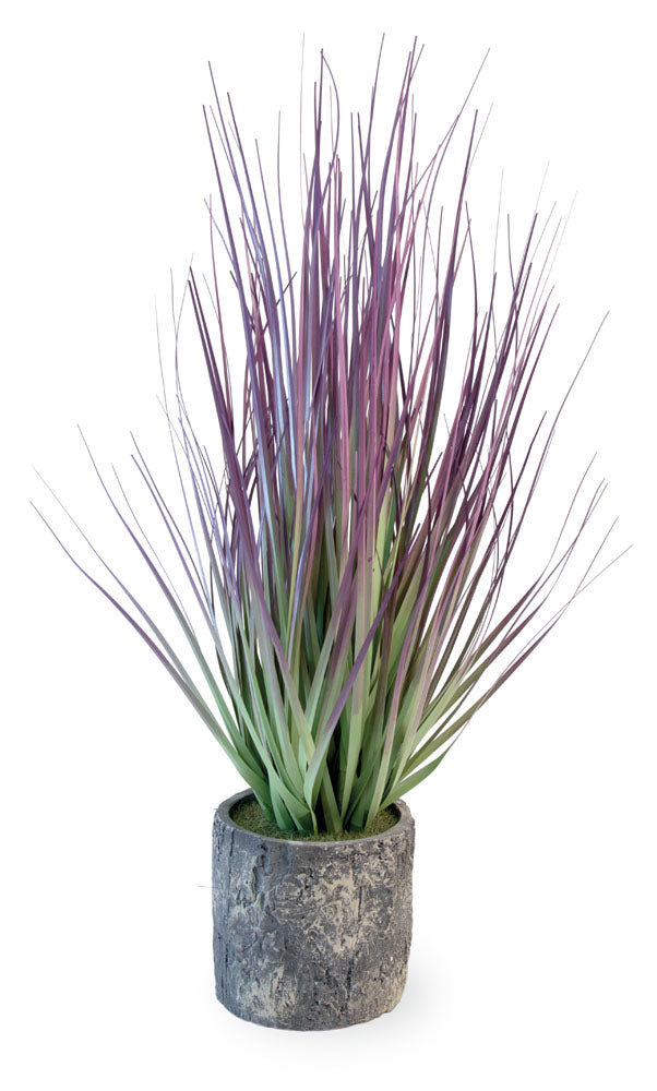 Purple Artificial Ornamental Grass, Set of 4