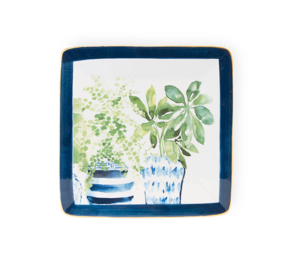 Blue Topiary Square Ceramic Plates, Set of 4,plate,Adley & Company Inc.