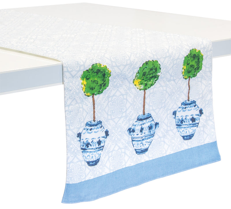Blue Topiary Cotton Table Runner,table runner,Adley & Company Inc.
