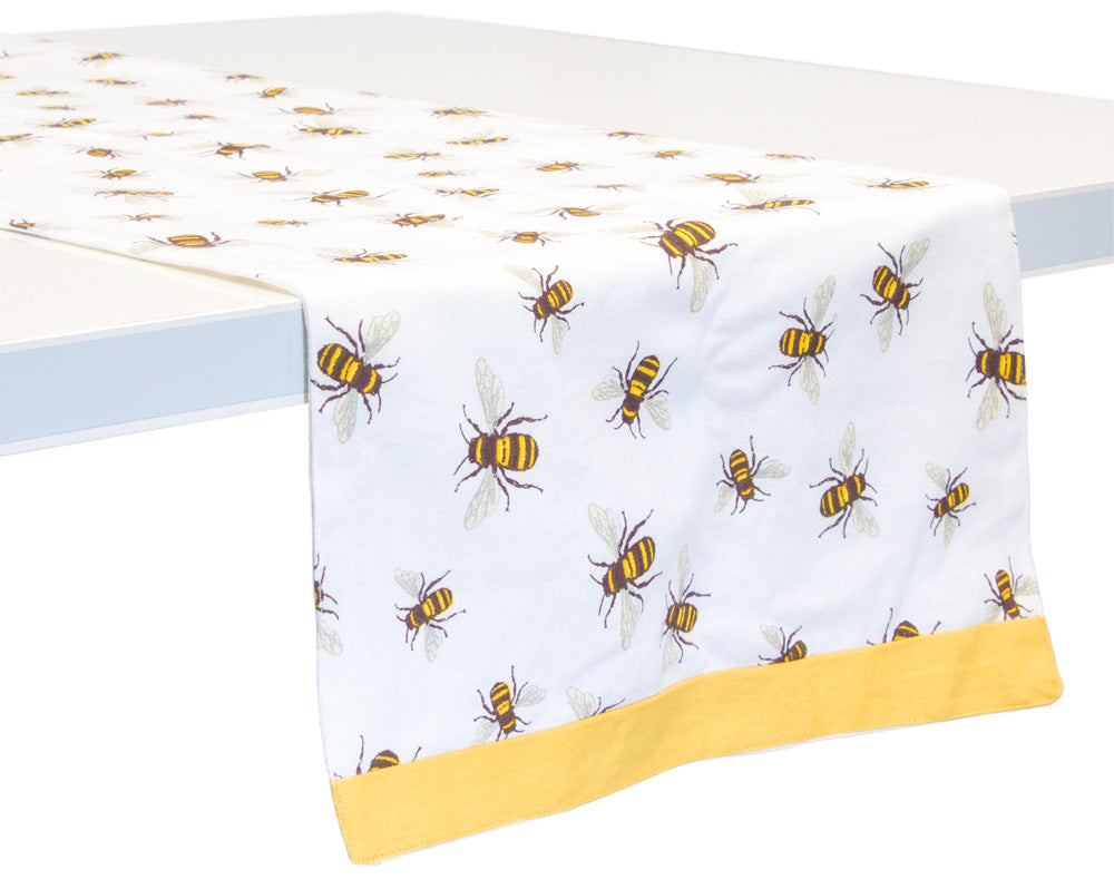 Save The Bees Cotton Table Runner,table runner,Adley & Company Inc.