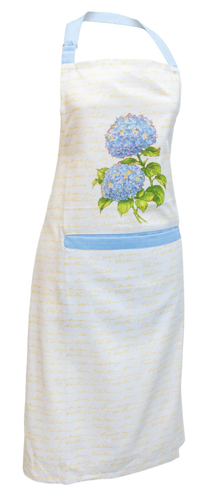 Blue Heirloom Hydrangea Cotton Apron,Serving bowl,Adley & Company Inc.