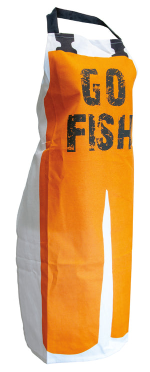 Go Fish Cotton White & Orange Apron,apron,Adley & Company Inc.