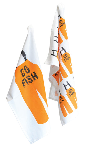 Go Fish Cotton Dish Towels, Set of 8,apron,Adley & Company Inc.