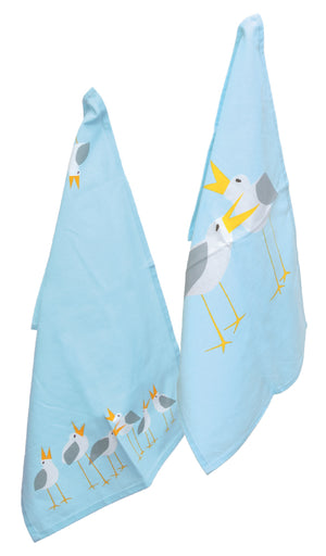 Sea Blue Cotton Seagulls Dish Towels, Set of 8,tea towel,Adley & Company Inc.