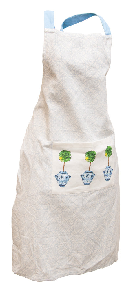 Blue Topiary Cotton Apron,apron,Adley & Company Inc.