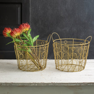 Set of 2 Gold Wire Baskets