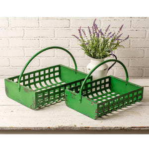 Set of Two Green Metal Storage Baskets
