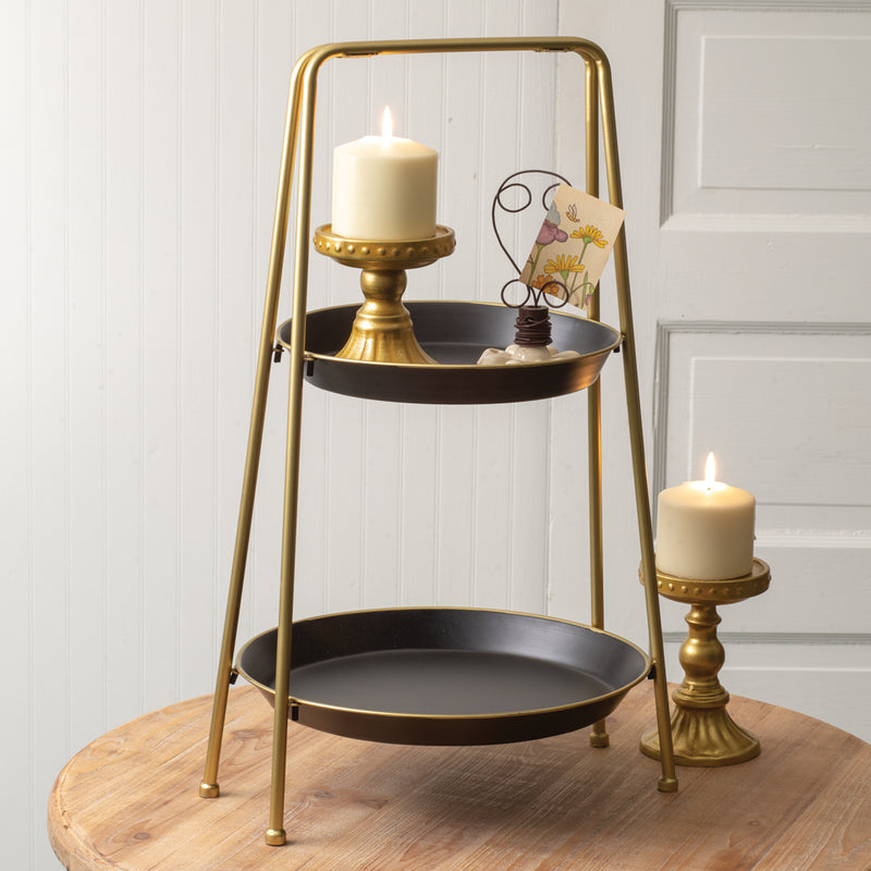 Two-Tiered Black and Gold Metal Round Tray,tiered stand,Adley & Company Inc.