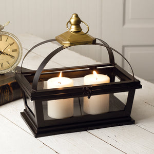 Denison Gold and Black Iron Candle Lanterns,candle lantern,Adley & Company Inc.