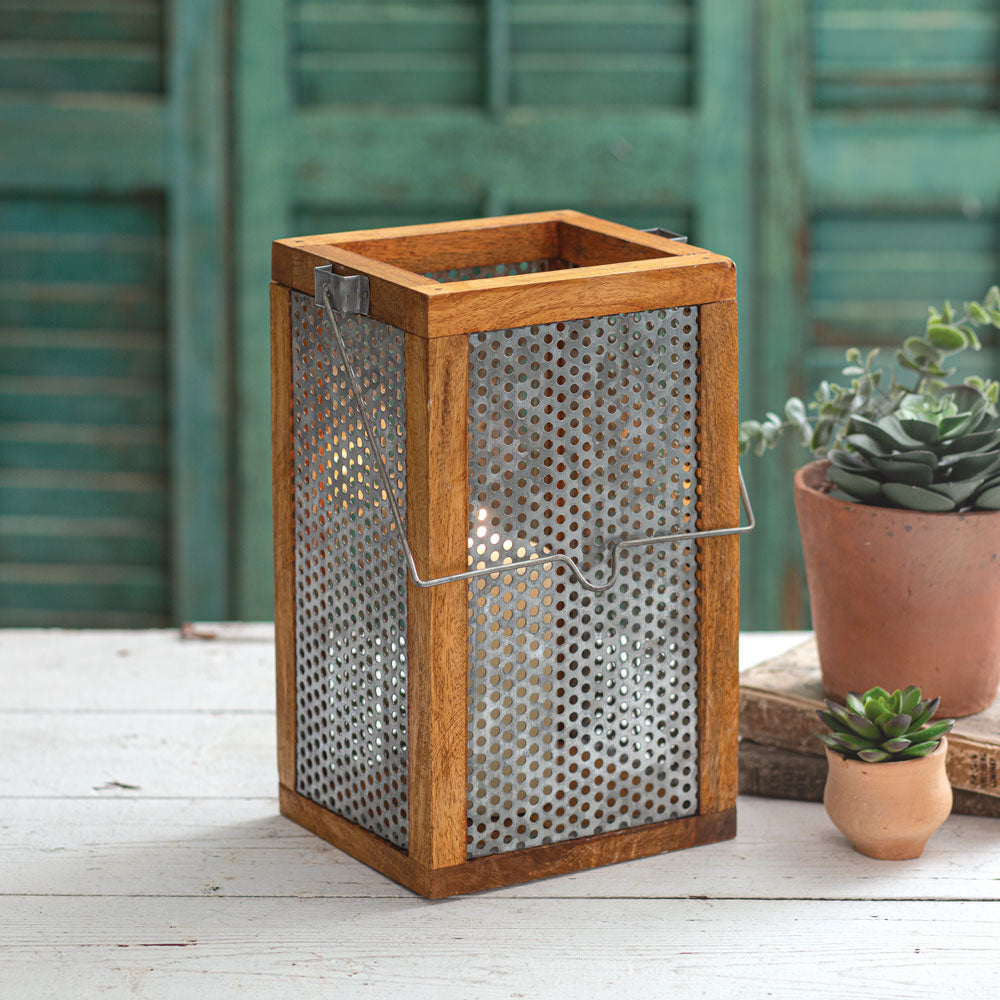 Punched Metal and Wood Candle Lantern