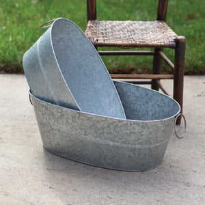 Set of Two Galvanized Metal Planters - Adley & Company Inc.