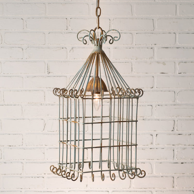 Scrolled Wire Birdcage Pendant Lamp