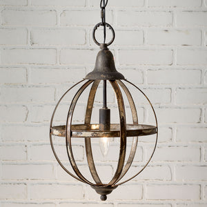 Metal Vintage Style Sphere Pendant Light,pendant light,Adley & Company Inc.