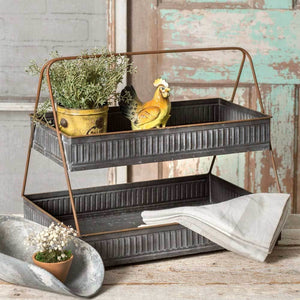 Two Tiered Metal Display Tray,display tray,Adley & Company Inc.