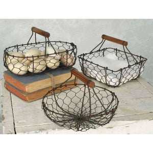Rustic Wire Baskets,clay pot,Adley & Company Inc.