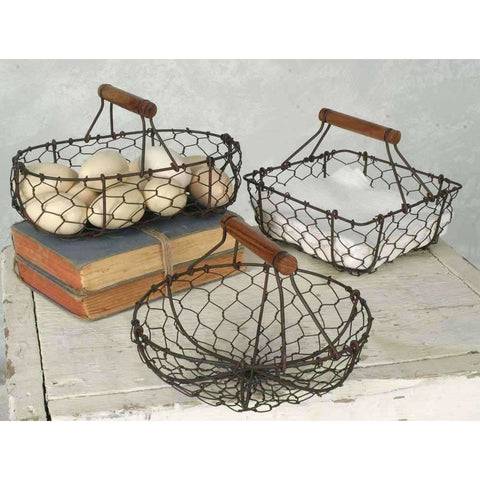 Set of 3 Farmhouse Wire Baskets
