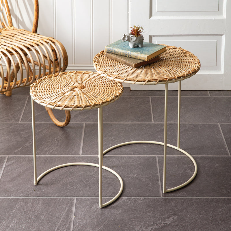 Set of 2 Woven Rattan & Metal Side Tables,side table,Adley & Company Inc.