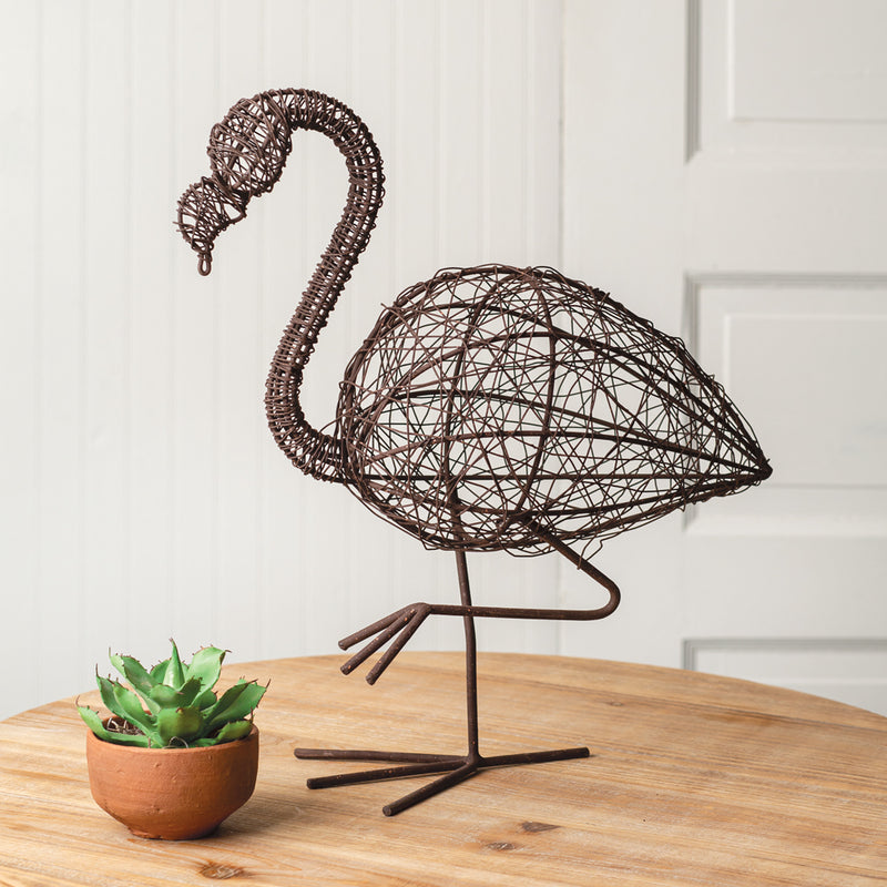 Twisted Wire Flamingo Sculpture,sculpture,Adley & Company Inc.
