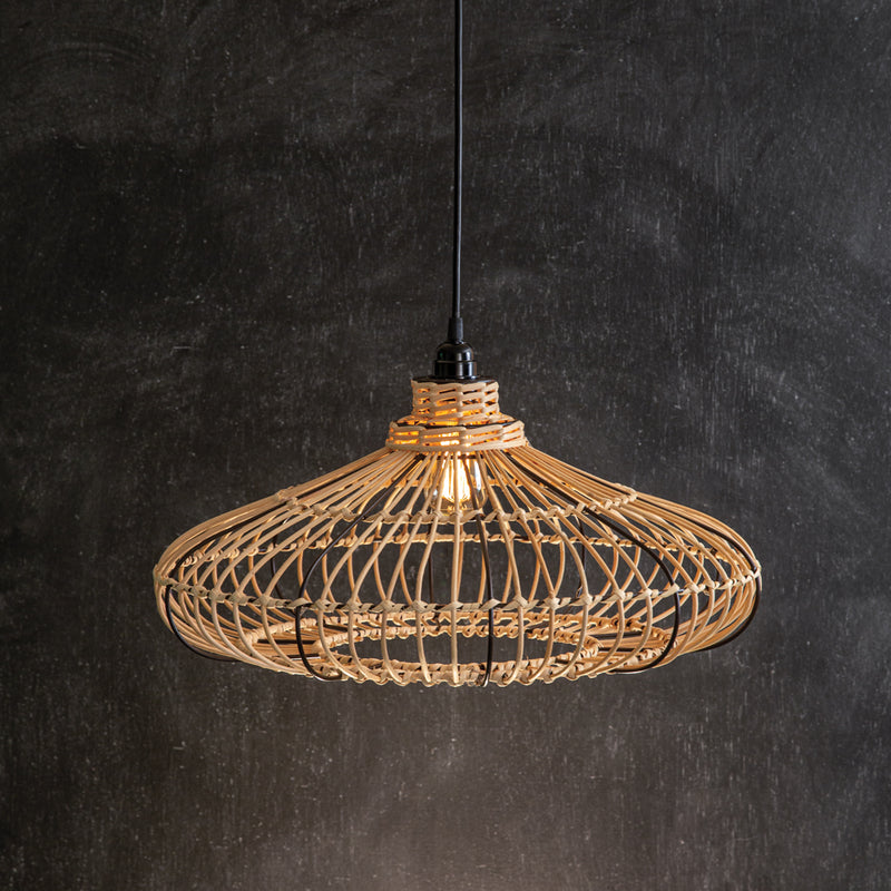 Rattan Wide Pendant Light,pendant light,Adley & Company Inc.