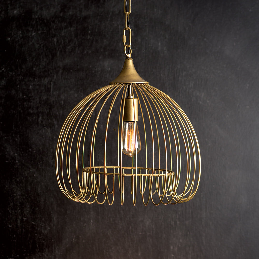 Antiqued Brass Domed Pendant Light,pendant light,Adley & Company Inc.