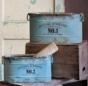 Set of 2 Blue Metal Bucket Bins, Distressed,storage bin,Adley & Company Inc.