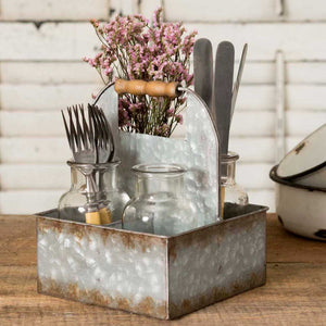 Metal Basket Caddy with Four Glass Bottle Vases