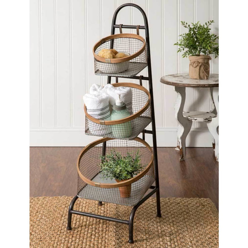 Three Basket Floor Display Stand