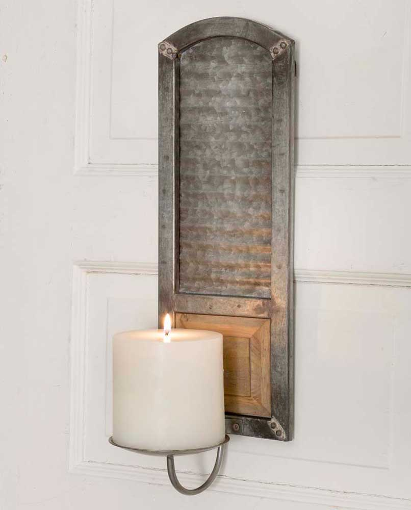 Metal Washboard Pillar Candle Sconce Holder