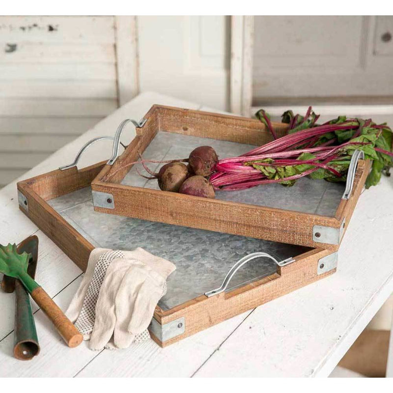 Set of Two Wood and Metal Garden Party Trays,trays,Adley & Company Inc.