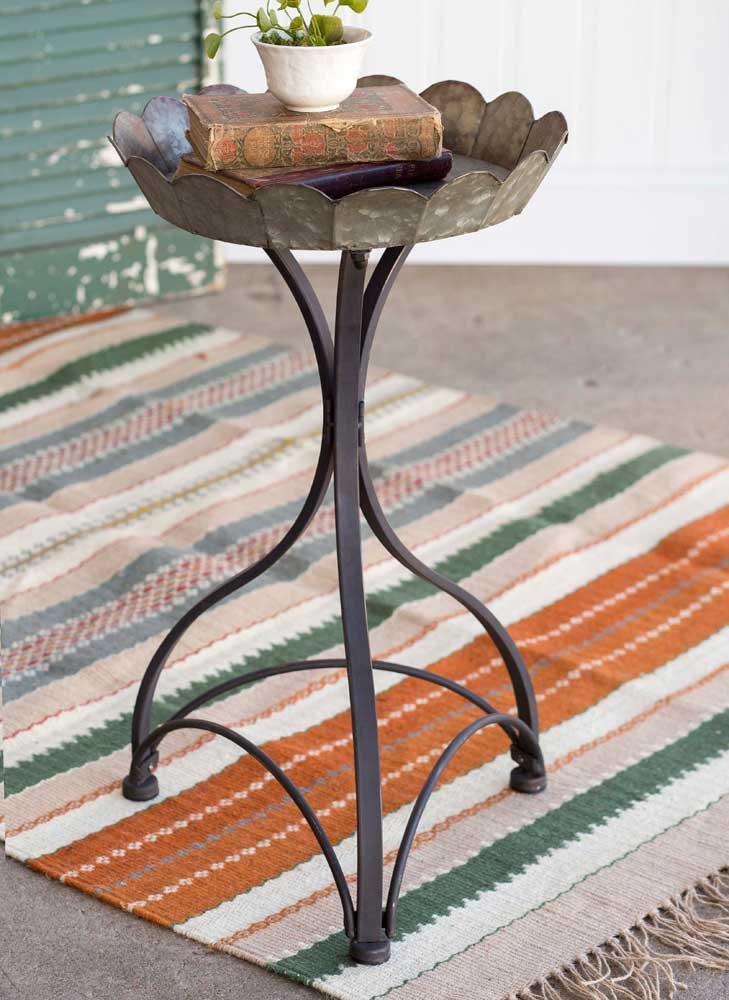 Metal Fluted Side Table or Garden Stand,side table,Adley & Company Inc.