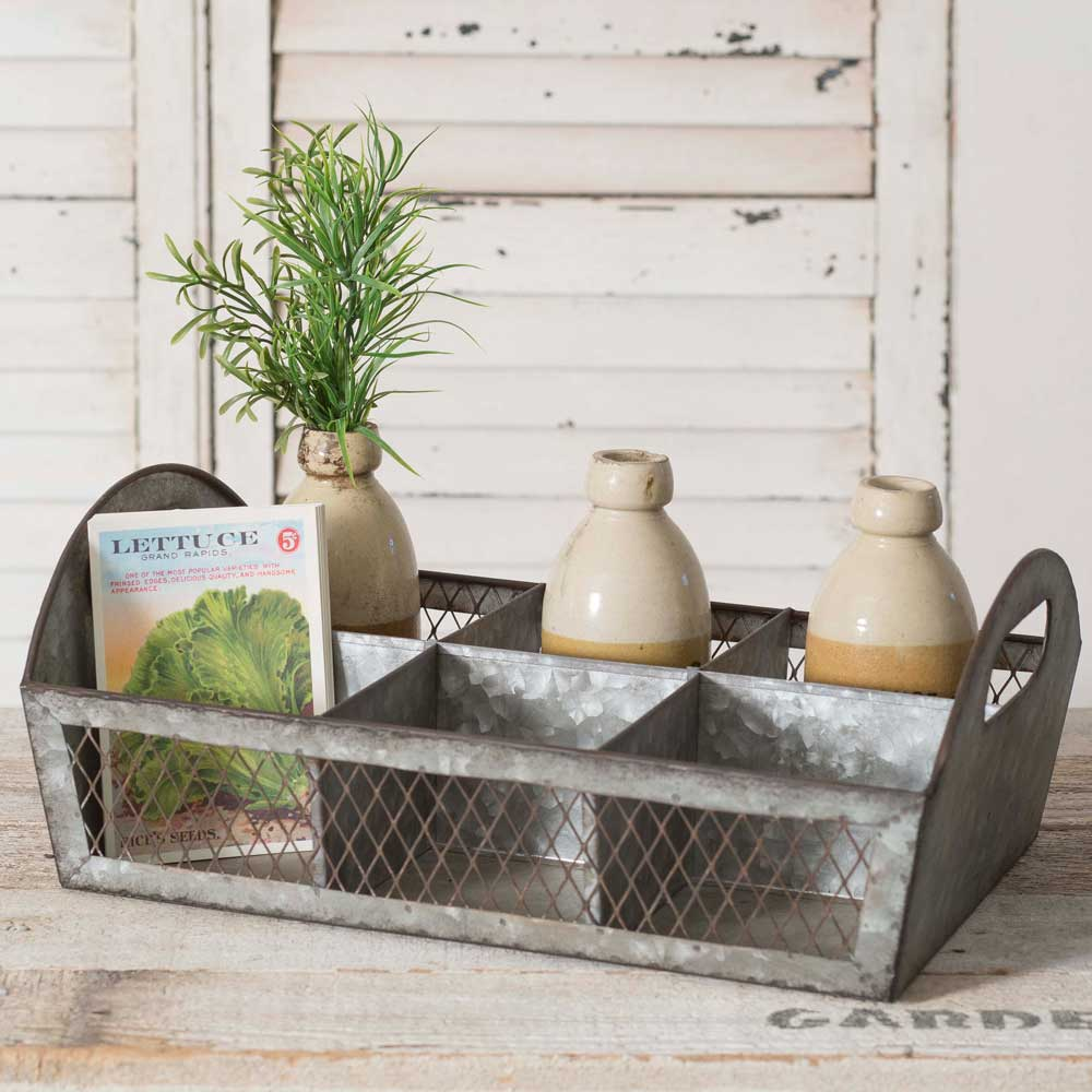 Wire Mesh & Metal Caddy with Six Compartments