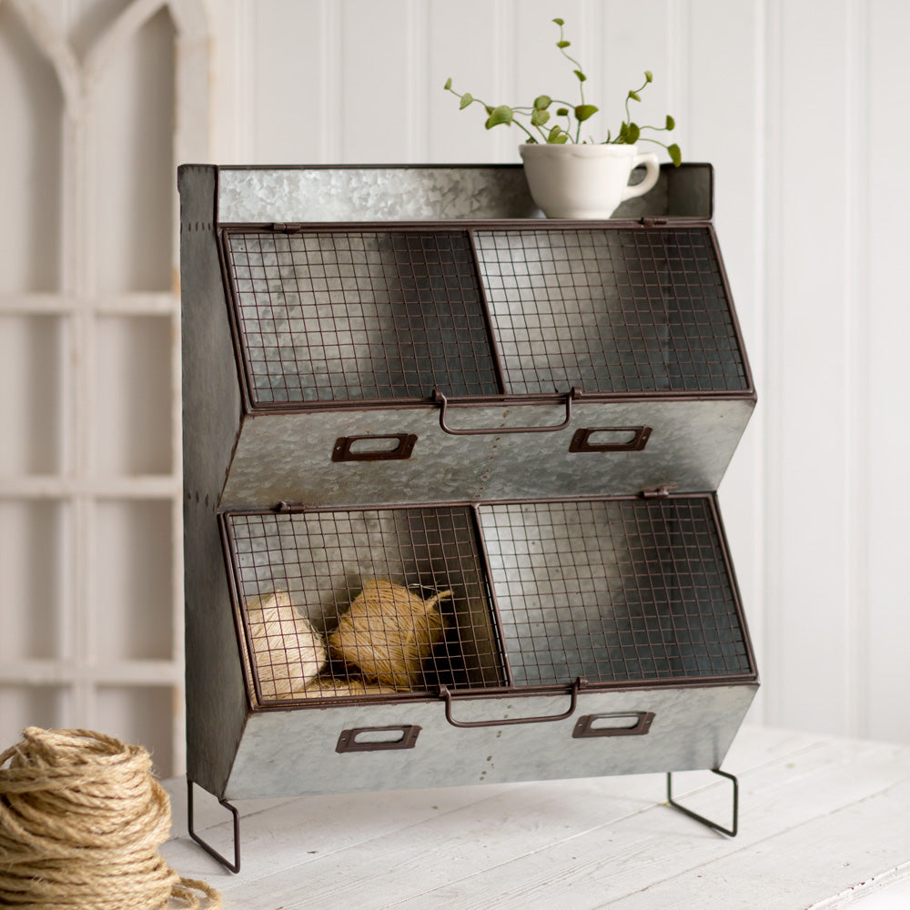 Four Bin Wall Organizer with Wire Mesh Lids,storage bin,Adley & Company Inc.