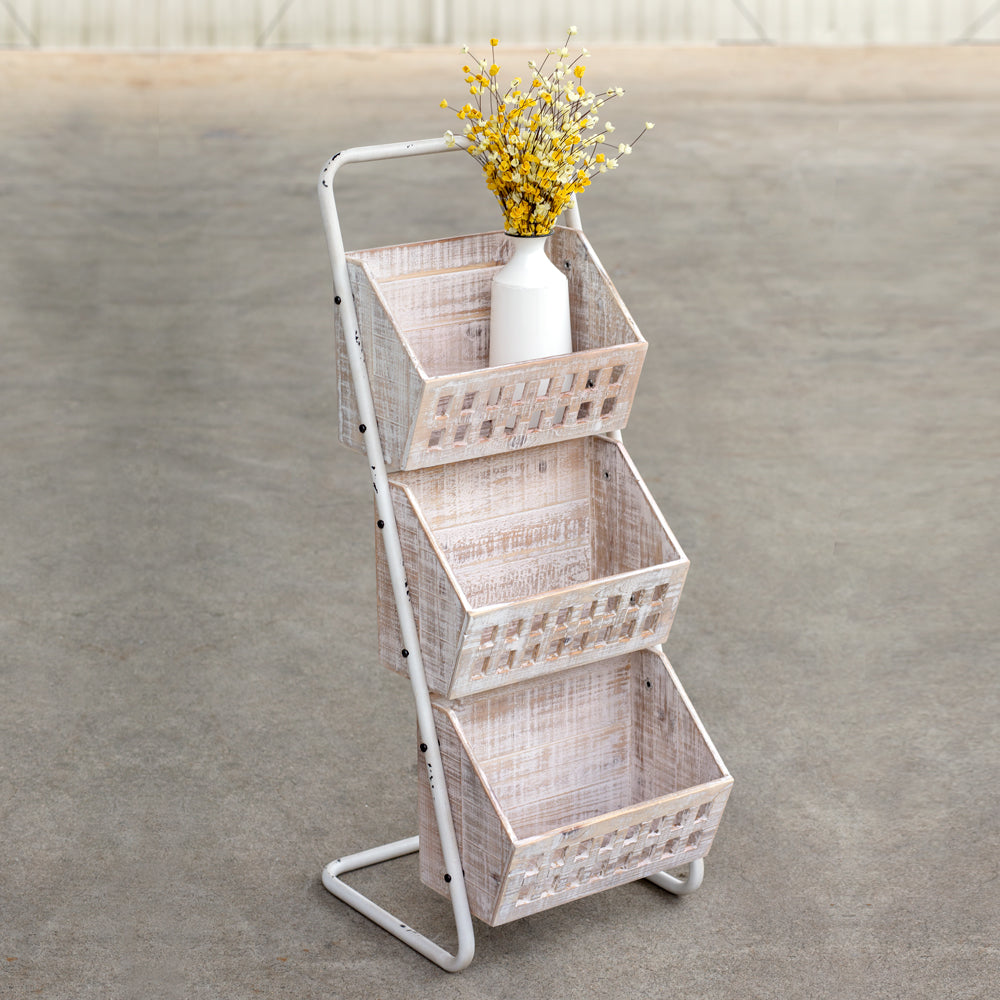 Wood and Metal Three Bin Floor Stand Organizer Cart